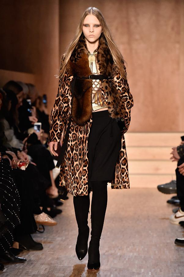 <strong>GIVENCHY</strong><BR><BR> Ricardo Tisci takes an exploration into his maximalist side for autumn winter 2016, hitting his go-to religious iconography—in a brand new way—and remixing it with hits of leopard, fur and avian prints—while maintaing an eye for cool go-tos like black pencil skirts and trousers.