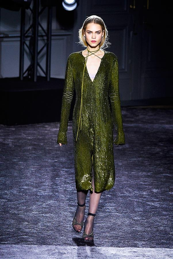 <strong>NINA RICCA</strong><BR><BR> The best looks were the ones that suggested—a sequined olive dress with a low-enough neckline to afford a hint of lavender bra, relaxed suits worn with skin-tone silk tops or extra roomy peacoats worn with nothing (or perhaps something) underneath.