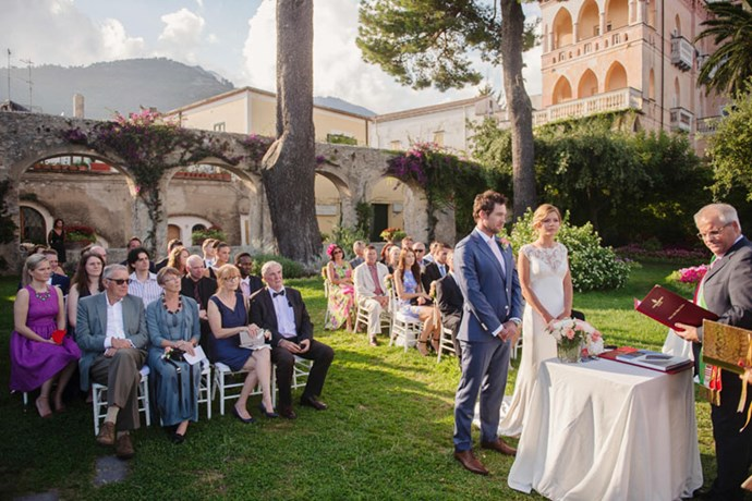 "<strong>On the location:</strong> <br><br> Our ceremony was held in the beautiful Giardini della Principessa di Piemonte in <a href=""http://www.weddinginravello.com/civil_wedding_ravello/civil_wedding_ravello.html"">Ravello</a>, Amalfi Coast overlooking the stunning Mediterranean panorama. The reception was held overlooking the Amalfi cliffs in at the exclusive <a href=""http://www.belmond.com/hotel-caruso-amalfi-coast/"">Hotel Caruso</a>."