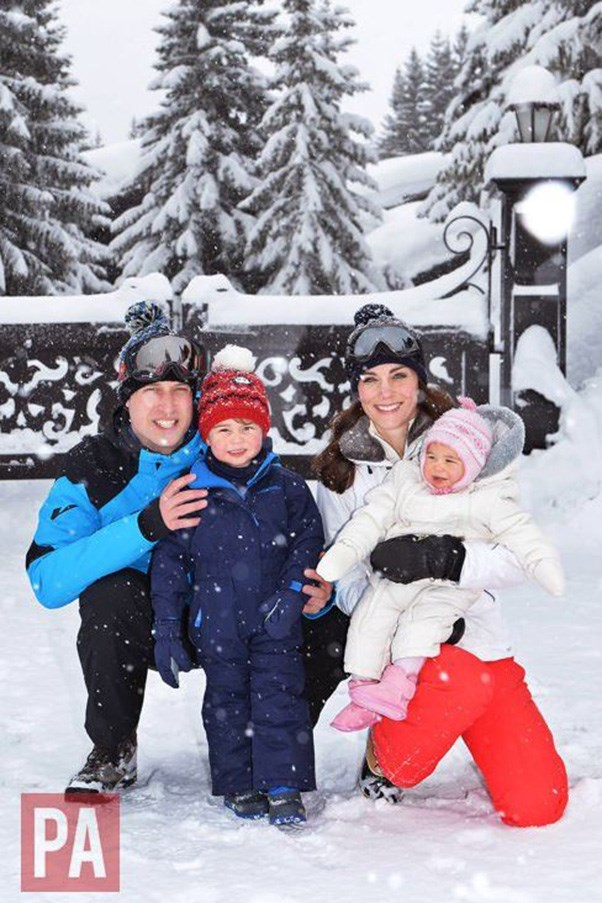 """This was their first holiday as a family of four and the first time either of the children have played in the snow."""
