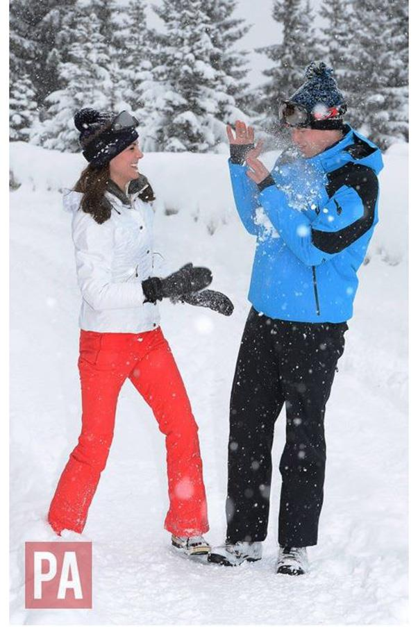 """""""The Duke and Duchess of Cambridge are delighted to share new photographs of their family, enjoying a short skiing holiday with their children in the French Alps. This is their first holiday as a family of four and they are pleased they to be able to share it. They hope people enjoy the photos."""""""