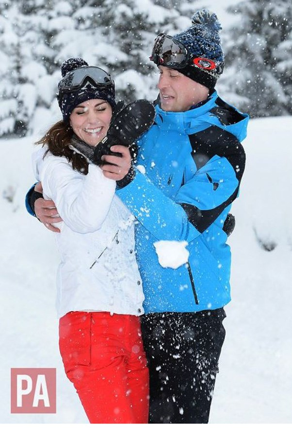 """The Duke and Duchess of Cambridge are delighted to share new photographs of their family, enjoying a short skiing holiday with their children in the French Alps. This is their first holiday as a family of four and they are pleased they to be able to share it. They hope people enjoy the photos."""