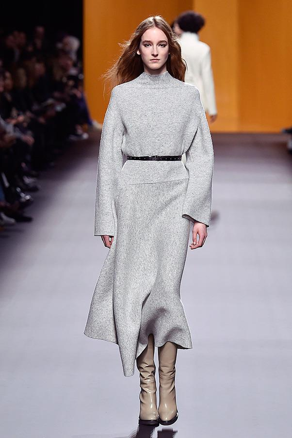 <strong>HERMÈS</strong><BR><BR> Cybulski also sent out a trio of grey looks, continuing the sleek, pared down look that she perfected at The Row, and has implemented so well at Hermès.