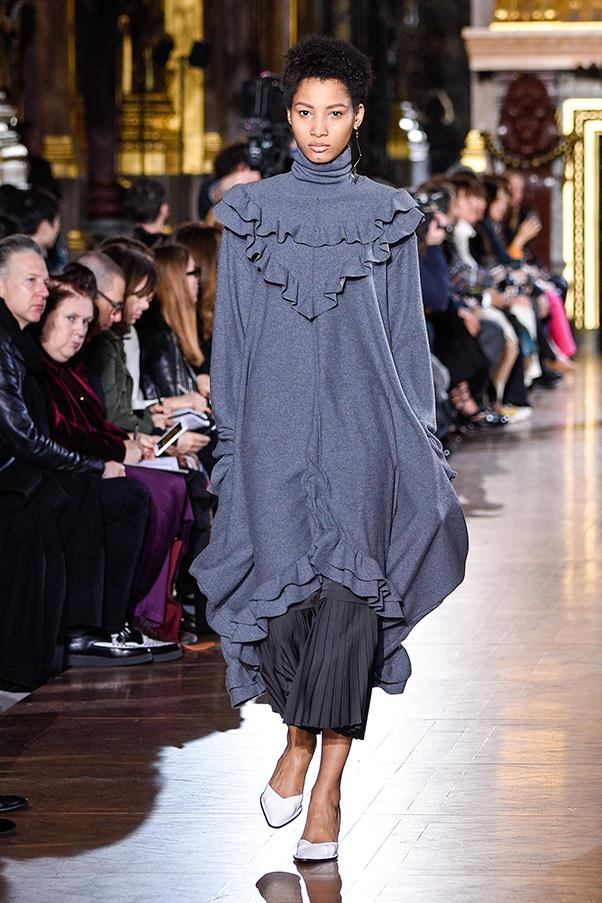 <strong>STELLA MCCARTNEY</strong><BR><BR> It wouldn't be a McCartney runway without some knit innovation. Here they were soft and unstructured, sometimes with raw edges, sometimes ruffled, all sweeping and ultra-cozy.