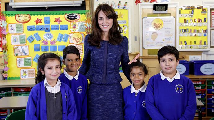 Looking regal in a navy skirt suit as she attended the Royal video message for Children's Mental Health week in London.