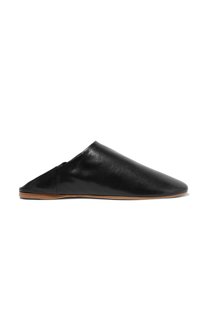 "'Agata' leather slippers by Acne studios, $660, <a href=""https://www.net-a-porter.com/au/en/product/682500/acne_studios/agata-leather-slippers"">Net-a-Porter</a>"