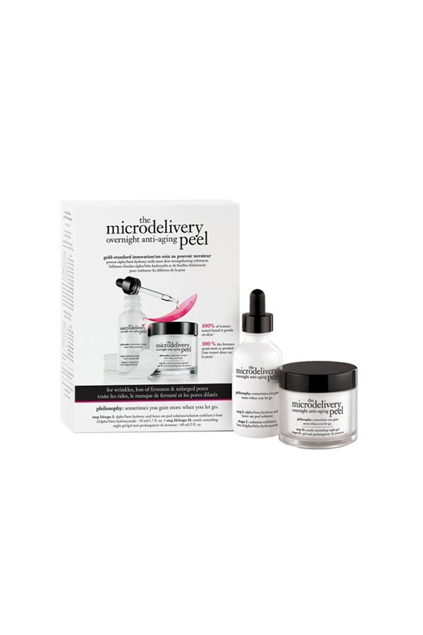 """<strong>Microdelivery overnight anti-aging peel by philosophy</strong><br><br> This two-step system offers the benefits of an exfoliating peel and a moisturising sleep mask all at once - minimal effort required. <br><br> $82, <a href=""""http://www.sephora.com/the-microdelivery-overnight-anti-aging-peel-P394620"""">Sephora</a>"""