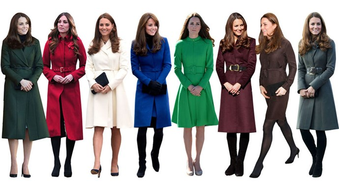 <strong>BELTED COATS</strong><br><br> If anyone can rival Olivia Palermo's love of belts, it's Kate. A cinched coat, typically in a jewelled tone, is the Duchess' signature look. Note that the look generally comes with a demure hand clasp that looks straight out of charm school.