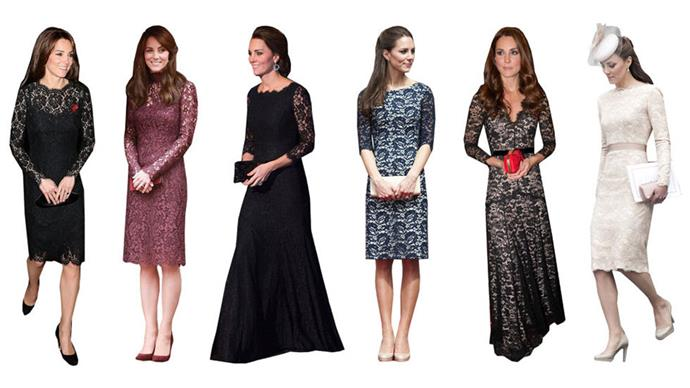 <strong>LACE DRESSES</strong><br><br> When a belted suit is a little too casual, Kate will opt for a lace dress with three-quarter-length or long sleeves.