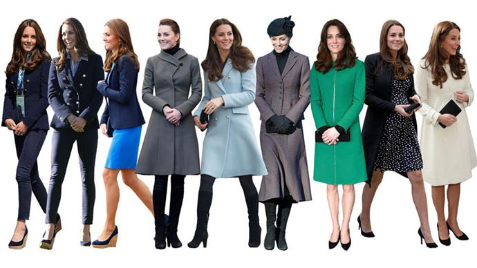 """<strong>SENSIBLE SHOES</strong><br><br> When Kate first came on the scene she sent the press into a """"princesses are really like us!"""" frenzy because she often re-wore the same sensible shoes. Five years later, she's still wearing down the soles of her favourite wedges, boots, and pumps."""