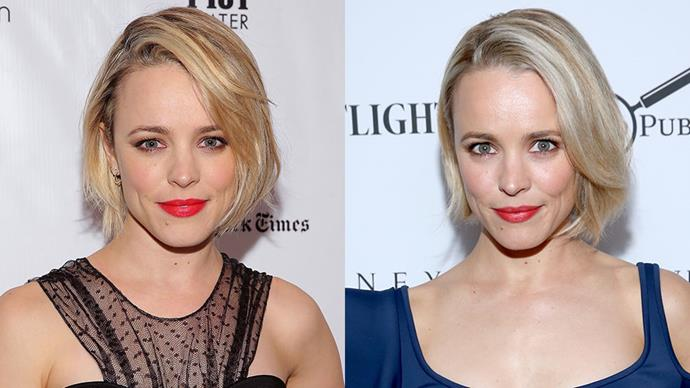 <strong>Rachel McAdams</strong><br><br> McAdams recently debuted her bob that's shades lighter than before, going white blonde instead of honey tones.