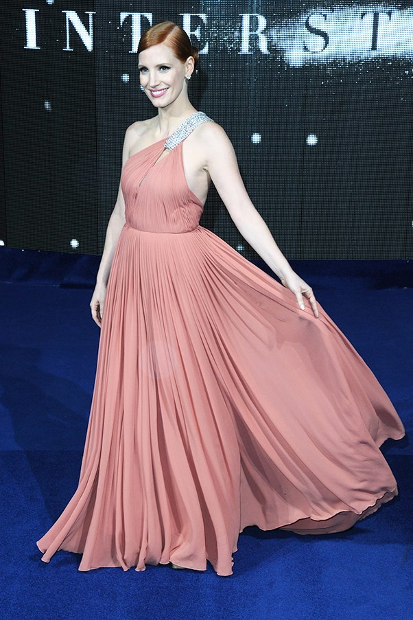 <strong>Jessica Chastain</strong><br><br> At the European premiere of <em>Interstellar</em>, 2014
