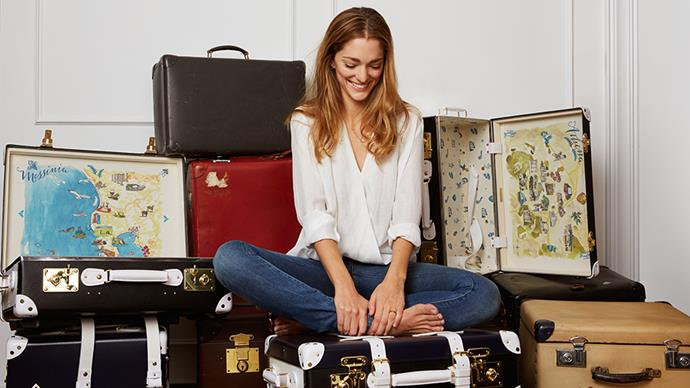Sofia Sanchez De Betak knows a thing about travelling in style. First, because doing the fashion month front row every season requires a savvy approach to packing, and secondly because she's teamed up with Globe Trotter on a collection of chic suitcases.