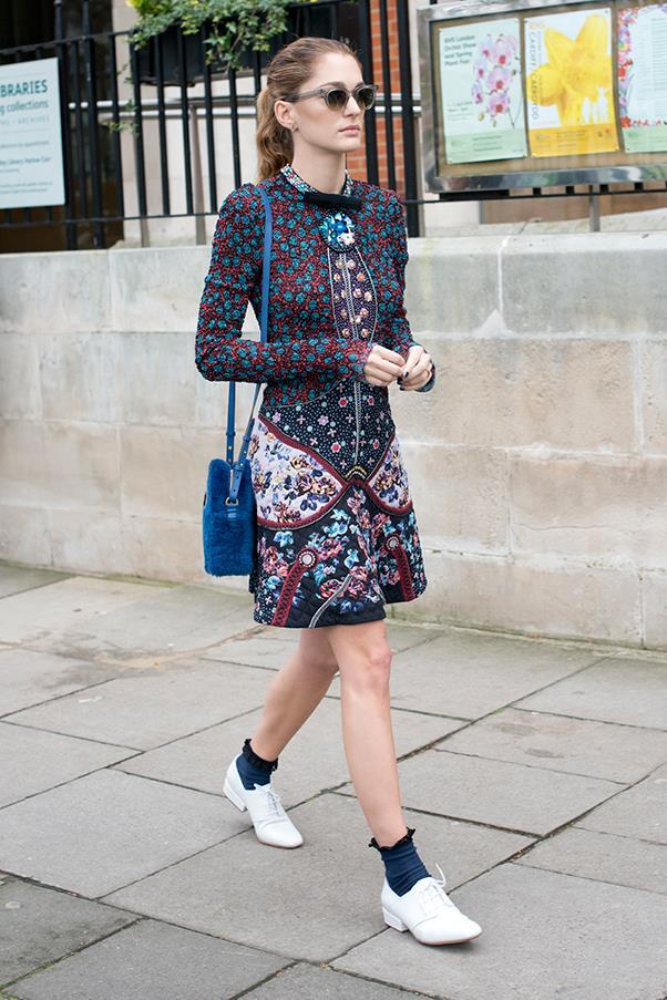 In Mary Katrantzou at London fashion week A/W 2016