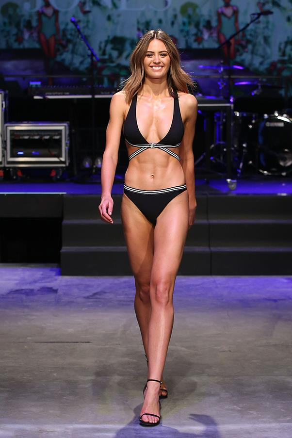 """<strong>Jesinta Campbell</strong><BR><BR> <strong>Food:</strong> Jesinta starts her day with a glass of warm water with grated ginger and lemon. After working out, her breakfast is poached eggs on a slice of pumpkin and hazelnut bread from Henley's, with half an avocado, fresh spinach and steamed asparagus. Lunch and dinner is roast vegetables or salad with a protein, either chicken or salmon. <BR><bR> <strong>Fitness:</strong> Two sessions with professional boxer Lauryn Eagle and one session a week with her personal trainer Dan Adair. She also attends Barre Body classes and runs. <br><br> Read Jesinta's pre-runway prep <a href=""""http://www.harpersbazaar.com.au/beauty/health-wellness/2015/8/jesinta-campbell-diet-and-exercise-routine/"""">here</a>."""