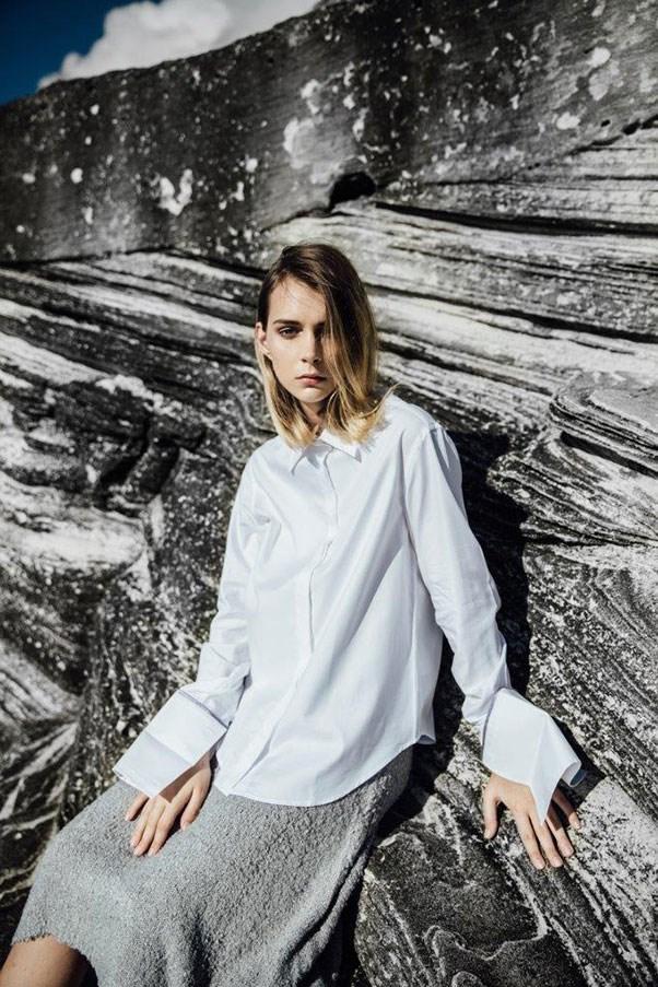 """Shirt, $300, pre-order at <a href=""""http://www.annaquan.com/shop-online/hibernus./pre-order:-grey-trim---anne-shirt"""">Anna Quan</a>"""