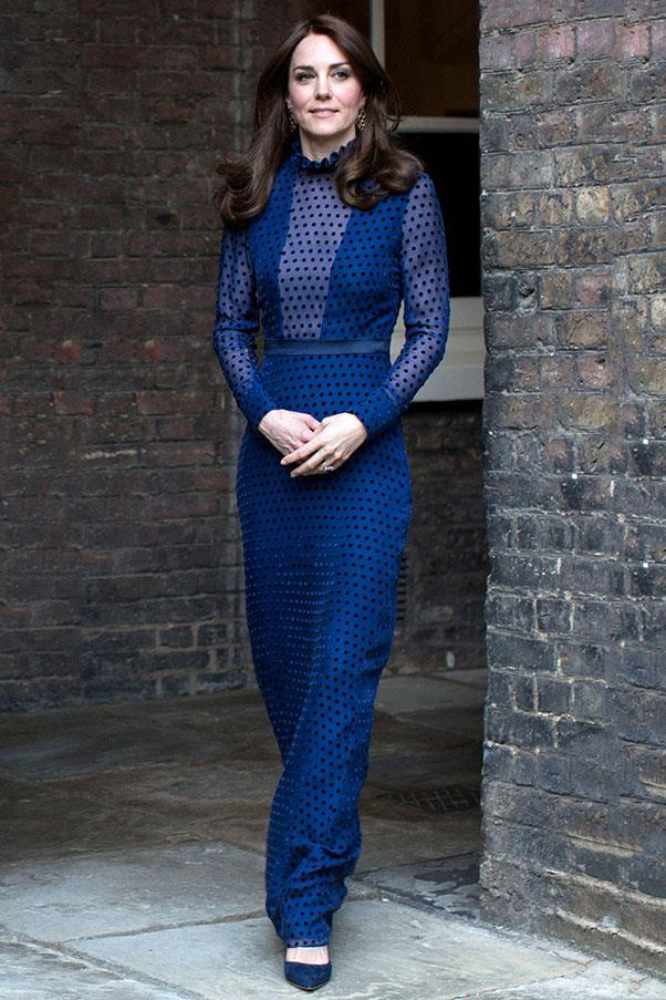 Before Prince William and Kate Middleton begin their trip to India and Bhutan, they attended a pre-tour dinner, where the Duchess sported a bright cobalt gown with a plunging neckline by Indian designer Saloni.