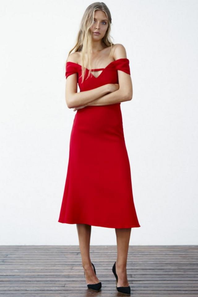 """<strong>Pair with:</strong> <br><br> Go the full femme-fatale route with a dress that accentuates the female form - think off the shoulder necklines, nipped-in waists and fluted skirts. <br><br> Dress, $695, <a href=""""http://shop.yeojinbae.com/shop-yeojin-bae-store/double-crepe-martine-dress-3491"""">Yeojin Bae</a>"""