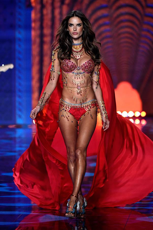 Wearing the 'Fantasy Bra' at the Victoria's Secret fashion show, 2014