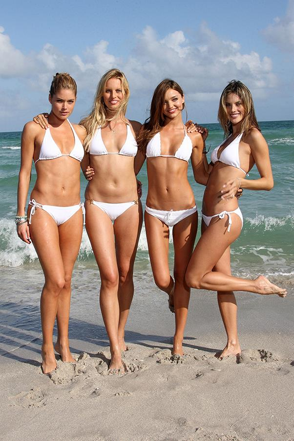 With fellow Victoria's Secret Angels Doutzen Kroes, Karolina Kurkova and Miranda Kerr on a swim shoot, 2008