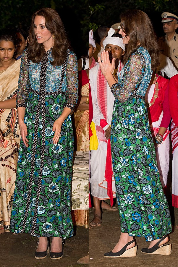 The Duchess wore a flowing Anna Sui dress to the Bigu Festival Celebration in Guwahati.