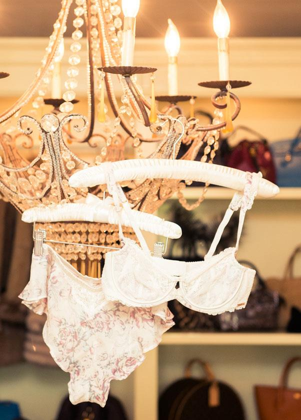 Why not hang lingerie from the chandelier?