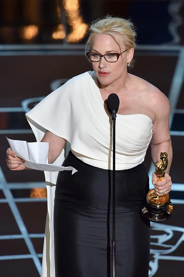"""It's our time to have wage equality once and for all, and equal rights for women in the United States of America."" — Patricia Arquette, at the <a href=""http://nytlive.nytimes.com/womenintheworld/2016/02/26/one-year-on-oscar-winner-patricia-arquette-powerfully-revisits-her-call-for-equal-rights/"">2015 Academy Awards</a>."