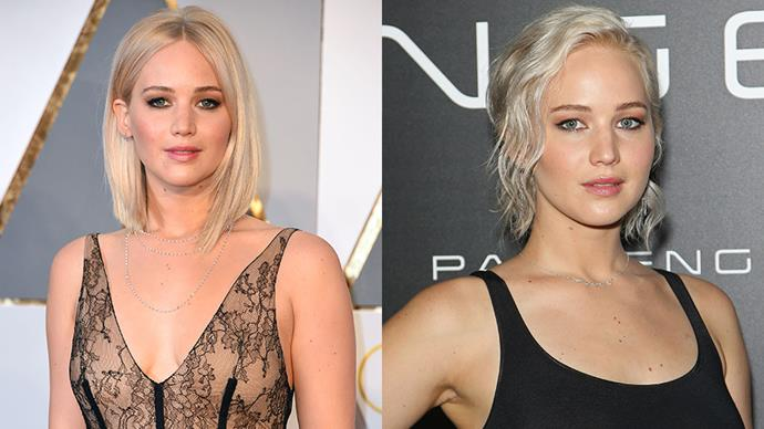 <strong>Jennifer Lawrence</strong><BR><bR> Your girl J-Law has debuted a fresh new colour at the premiere of her latest film <em>Passengers</em>, taking her already platinum blonde locks to an icy-white shade.