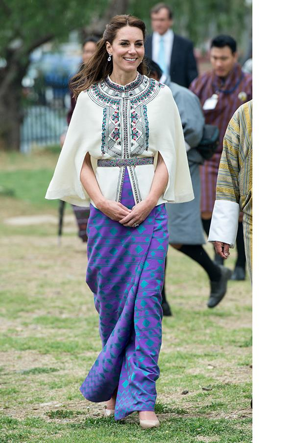 HRH paired a PAUL & JOE printed top with a hand-made skirt made of Bhutanese fabric to meet the King and Queen of Bhutan.