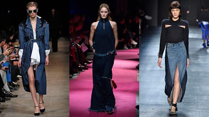 <strong>Unexpected Denim:</strong> <br><br> Forget your trusty blue jeans, because this season denim was reinvented for the A/W '16 season, with the hard-working fabric giving a utilitarian edge to everything from maxi skirts (hello, 1997), tailored trenches and halter tops. Look for interesting details when it comes to denim shopping this season too – frayed edges, patch-working or splicing with other fabrics like leather or linen. <br><br> <em>Left to right: Miu Mui, Marques'Almeida and Tome</em>