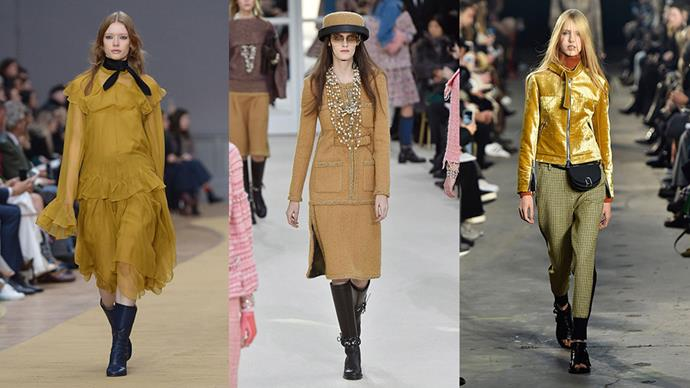 <strong>Mustard:</strong> <br><br> Set to be the colour of the season, invest in at least one piece in this statement shade this winter. Our suggestion? Something in diaphanous chiffon to nail that '70s vibe. <br><br> <em>Left to right: Chloé, Chanel and 3.1 Phillip Lim</em>