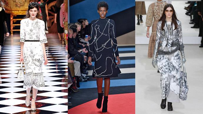 <strong>Sketch Prints:</strong> <br><br> This season, designers opted for less structured, formulaic  prints for their A/W collections, adorning dresses and separates alike in free-hand illustrations. Stick to monochrome iterations for added impact. <br><br> <em>Left to right: Dolce&Gabbana, Derek Lam, Chanel</em>