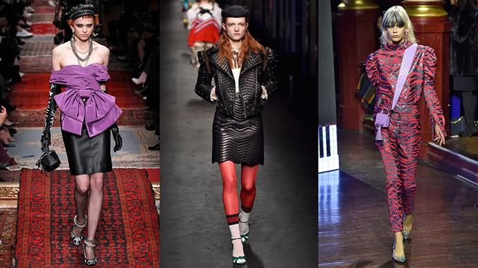 <strong>The '80s:</strong> <br><br> The decade of decadence is back. Over-sized shoulder shapes are going to be huge (literally) this season, so look for pieces with a power-shoulder to get on board. Not a fan of shoulder pads? Try a bustier and skirt combo, or leather on leather. We dare you. <br><br> <em>Left to right: Moschino, Gucci, Kenzo</em>