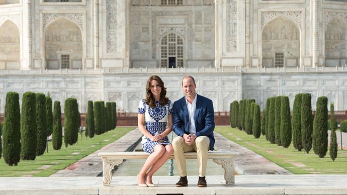 William and Kate stage a photo that Princess Diana had famously taken on her visit to the Taj Mahal in 1992.She appears relaxed and chic in a navy and cream dress.