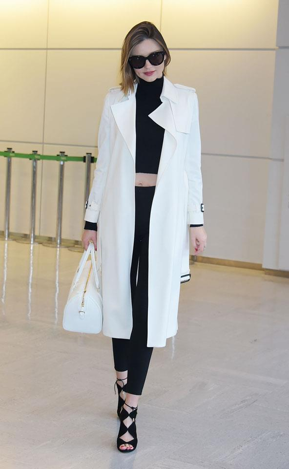 <strong>April 11, 2016</strong><br><br> Miranda kept things monochrome - from head to toe - for a recent flight out of LAX.