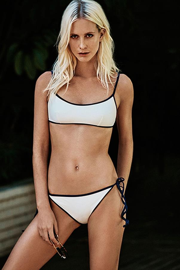 "<strong>Poppy Delevingne</strong><BR><BR> <strong>Food:</strong> Delevingne considers herself a ""healthy eater"", beginning each day with hot water and lemon, followed by scrambled eggs on rye bread. Throughout the day she'll eat salads and vegetables and tries to avoid carbs. ""I'm bonkers about juicing,"" she told <em><a href=""http://www.instyle.co.uk/fitness-wellbeing/poppy-delevingne-diet"">InStyle</a></em>. ""I used to juice three times a day. I make juices with coconut water, kale, spinach, kiwi, banana and blueberries, so I leave the house with that in my hand."" <BR><BR> <strong>Fitness:</strong> ""I do Body by Simone classes in LA,"" Delevingne told <em><a href=""http://www.harpersbazaar.co.uk/beauty/fitness-wellbeing/news/a36939/poppy-delevingne-bikini-body-secrets/"">Harper's BAZAAR UK</a></em>. It's basically a dance class with weights in between. Rosie Huntington-Whiteley put me on to it and I've never looked back."""