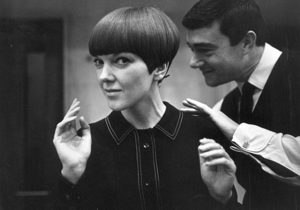 <strong>1965: FIVE POINT CUT</strong> <br><br> Taking the same bob a step further, Sassoon popularised the modern, geometric look on women including Mary Quant.