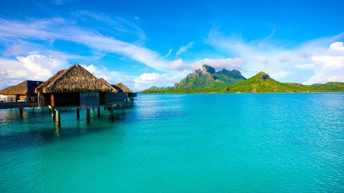 <strong>9. Bora Bora, French Polynesia</strong> <br><br> <strong>What to do: </strong>Stay in an over water bungalows for the ultimate in luxury and snorkelling convenience, then explore the Island's mountainous scenery.