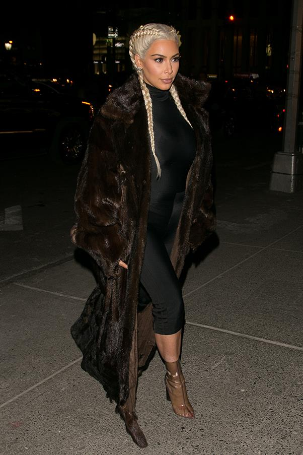 In fur, Yeezy boots and a platinum blonde wig, February 2016