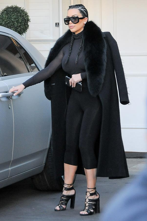 Rocking an on-trend dutch braid and all-black in Los Angeles, February 2016