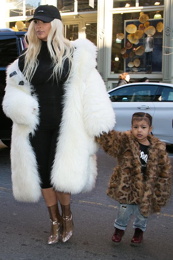 Spotted two months after giving birth to son Saint, with daughter North, in New York, February 2016