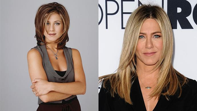 JENNIFER ANNISTON <br><br> Anniston's haircut during the second season of <em>Friends</em> was so sought after, it became a style of its own - <em>The Rachel</em>. After filming wrapped, the actress traded in the eponymous haircut for a straighter, lighter style.