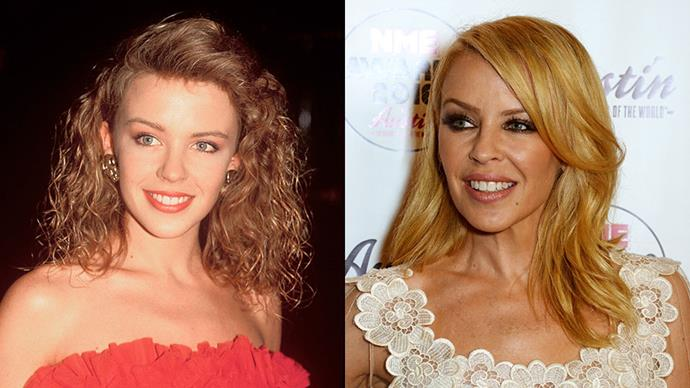 KYLIE MINOGUE <br><br> Kylie replaced her 80's bubble perm with tidy, shoulder length waves when she transitioned from <em>Neighbours</em> actress to stage persona.