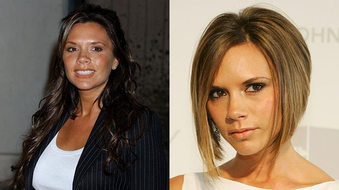 VICTORIA BECKHAM <br><br> Beckham threw away the long extensions and went for a <em>lob</em> back in 2006. With the shorter style came better red carpet choices for  Beckham, who is considered among fashion's elite.