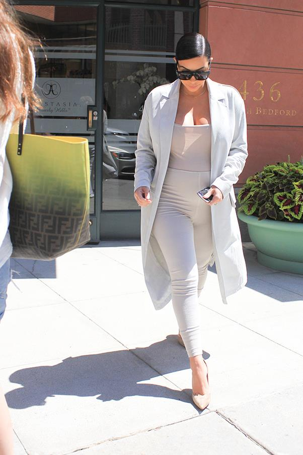 In her signature neutral body-suit look, out and about in Los Angeles, August 2015