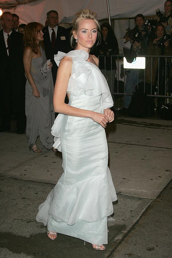 """<strong>Naomi Watts in Calvin Klein, 2005</strong><br><br> """"Naomi Watts appears to be walking on (if not part of) a cloud … albeit the most magical, ruffle-strewn cloud I've ever seen. Delightful."""" - <em>Jessica Matthews, deputy chief subeditor </em>"""