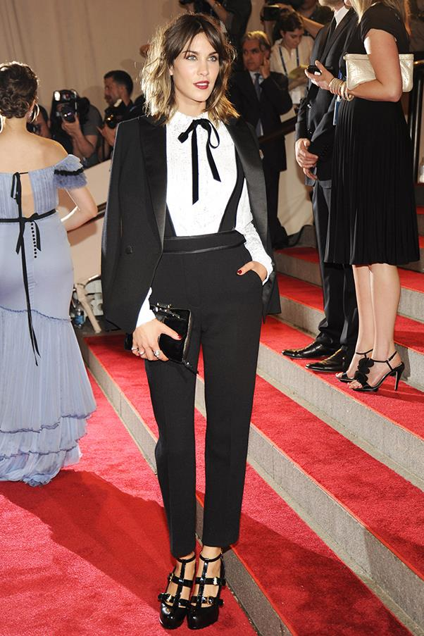 """<strong>Alexa Chung in Philip Lim, 2010</strong><br><br> """"This androgynous look is all in the detail, I think it's great to see someone doing something different at the Gala."""" - <em>Aubree Smith, fashion office co-ordinator</em>"""