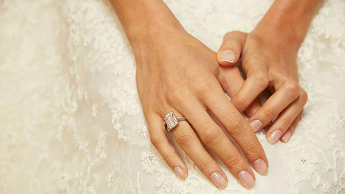 <strong>Amal Alamuddin and George Clooney</strong> <br><br> <strong>The ring: </strong>The emerald cut engagement ring came with an estimated price tag of $800,000.