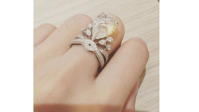 """<strong>Angela Yeug and Huang Xiaoming</strong> <br><br> <strong>The ring:</strong> Designed by Parisian jeweller, <em>Chaumet</em>, the bride's five-carat pear-shaped diamond ring is designed valued at approximately $2 million. <br><br> <a href=""""https://www.instagram.com/p/8A7w16GQe-/"""">@angelababyct</a>"""