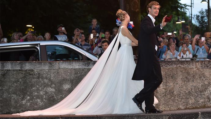 <strong>Beatrice Borromeo and Pierre Casiraghi</strong> <br><br> <strong>When: </strong> July 25, 2015 <br><br> <strong>Where: </strong> The Grimaldi Palace, Monaco <br><br> <strong>Cost: </strong> Uncertain, but judging by the choice of gown(s) we know this celebration came with a hefty price tag.